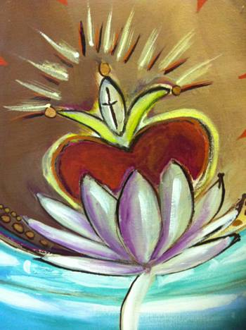 part of painting heart in lotus